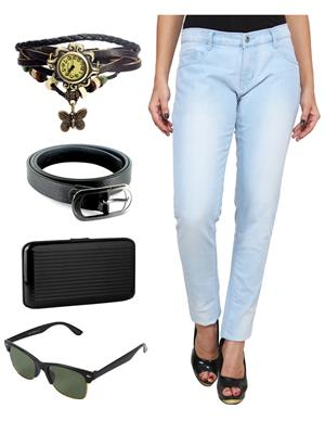 Ansh Fashion Wear WJ-LBM-LONG-2 Blue Women Jeans With Watch, Belt, Sunglass & Card Holder