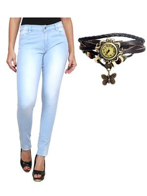 Ansh Fashion Wear Wj-Lbm-Long-Rakhi Blue Women Jeans With Watch