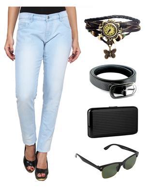 Ansh Fashion Wear WJ-LB Blue Women Jeans With Watch, Belt, Sunglass & Card Holder