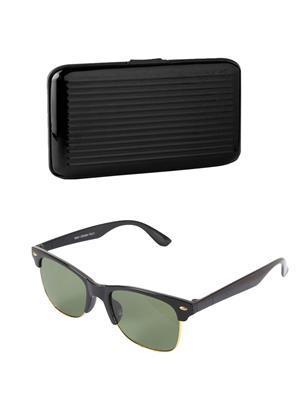 Ansh Fashion Wear Wj-Purce-Sun Black Wayfarer & Card Holder Combo Pack