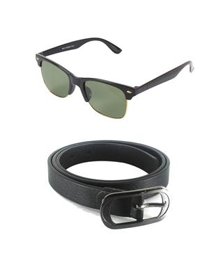 Ansh Fashion Wear Wj-Sun-Half-Blt Black Belt & Wayfarer Combo Pack