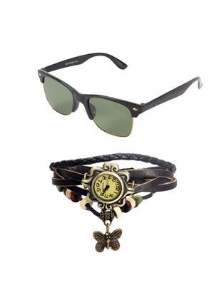 Ansh Fashion Wear Wj-Sun-Half-Rakhi Black Wayfarer & Watch Combo Pack