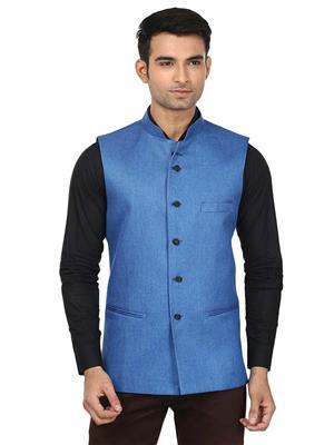 Qdesigns WJ-14 Blue Men Waist Jacket