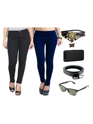 Ansh Fashion Wear Wjg-Cm-1-Rpbs Multicolored Women Jeans With Jegging, Watch,Belt, Cardholder,Sungla
