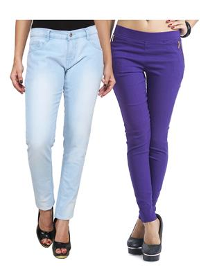 Ansh Fashion Wear WJG-2CM-13 Multicolored Women Jeans With Jegging