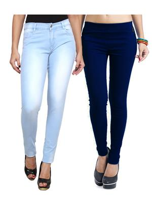 Ansh Fashion Wear WJG-2CM-15 Multicolored Women Jeans With Jegging