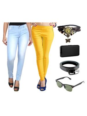 Ansh Fashion Wear Wjg-Cm-16-Rpbs Multicolored Women Jeans With Jegging, Watch,Belt, Cardholder,Sungl