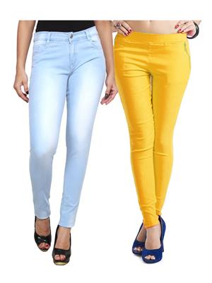 Ansh Fashion Wear WJG-2CM-16 Multicolored Women Jeans With Jegging