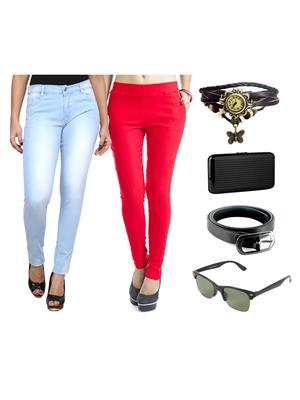 Ansh Fashion Wear Wjg-Cm-17-Rpbs Multicolored Women Jeans With Jegging, Watch,Belt, Cardholder,Sungl