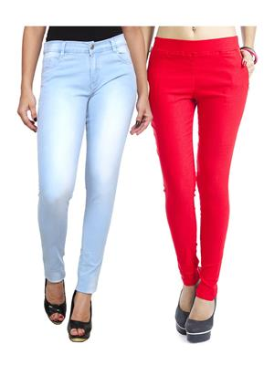Ansh Fashion Wear WJG-2CM-17 Multicolored Women Jeans With Jegging