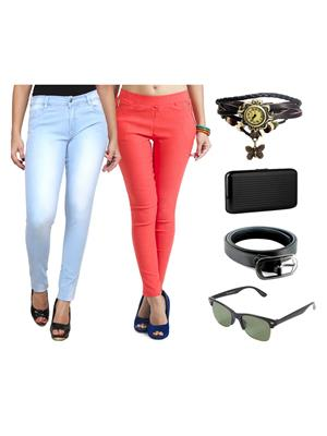 Ansh Fashion Wear Wjg-Cm-19-Rpbs Multicolored Women Jeans With Jegging, Watch,Belt, Cardholder,Sungl