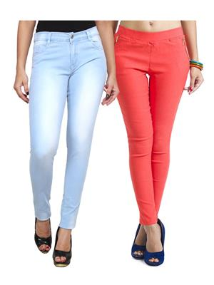 Ansh Fashion Wear WJG-2CM-19 Multicolored Women Jeans With Jegging