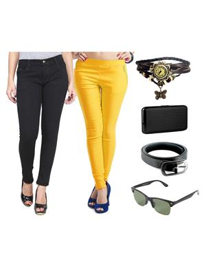 Ansh Fashion Wear Wjg-Cm-2-Rpbs Multicolored Women Jeans With Jegging, Watch,Belt, Cardholder,Sungla