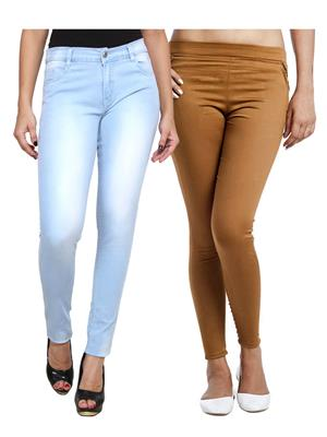 Ansh Fashion Wear WJG-2CM-21 Multicolored Women Jeans With Jegging