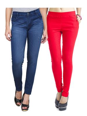 Ansh Fashion Wear WJG-2CM-24 Multicolored Women Jeans With Jegging