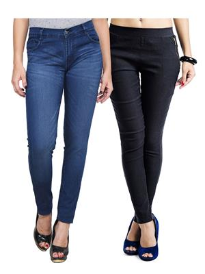 Ansh Fashion Wear WJG-2CM-25 Multicolored Women Jeans With Jegging