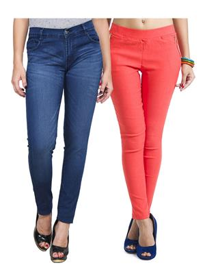 Ansh Fashion Wear WJG-2CM-26 Multicolored Women Jeans With Jegging