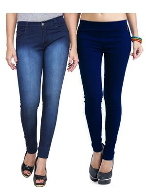 Ansh Fashion Wear WJG-2CM-29 Multicolored Women Jeans With Jegging