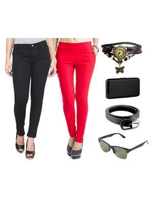 Ansh Fashion Wear Wjg-Cm-3-Rpbs Multicolored Women Jeans With Jegging, Watch,Belt, Cardholder,Sungla