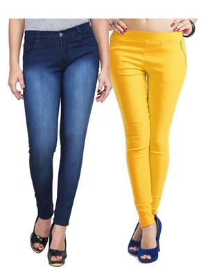 Ansh Fashion Wear WJG-2CM-30 Multicolored Women Jeans With Jegging