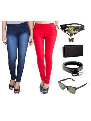 Ansh Fashion Wear Wjg-Cm-31-Rpbs Multicolored Women Jeans With Jegging, Watch,Belt, Cardholder,Sungl