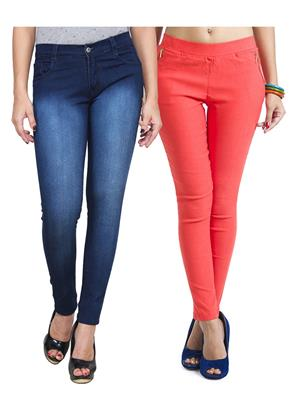 Ansh Fashion Wear WJG-2CM-34 Multicolored Women Jeans With Jegging