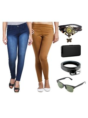 Ansh Fashion Wear Wjg-Cm-35-Rpbs Multicolored Women Jeans With Jegging, Watch,Belt, Cardholder,Sungl