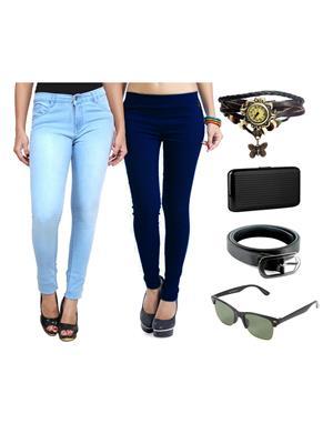 Ansh Fashion Wear Wjg-Cm-36-Rpbs Multicolored Women Jeans With Jegging, Watch,Belt, Cardholder,Sungl