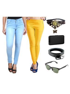 Ansh Fashion Wear Wjg-Cm-37-Rpbs Multicolored Women Jeans With Jegging, Watch,Belt, Cardholder,Sungl