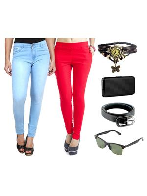 Ansh Fashion Wear Wjg-Cm-38-Rpbs Multicolored Women Jeans With Jegging, Watch,Belt, Cardholder,Sungl