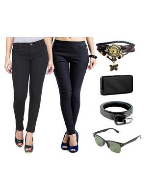 Ansh Fashion Wear Wjg-Cm-4-Rpbs Multicolored Women Jeans With Jegging, Watch,Belt, Cardholder,Sungla
