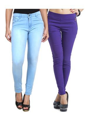 Ansh Fashion Wear WJG-2CM-41 Multicolored Women Jeans With Jegging