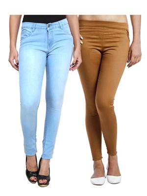 Ansh Fashion Wear WJG-2CM-42 Multicolored Women Jeans With Jegging