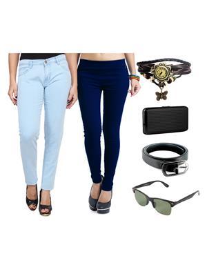 Ansh Fashion Wear Wjg-Cm-43-Rpbs Multicolored Women Jeans With Jegging, Watch,Belt, Cardholder,Sungl