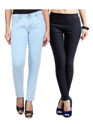 Ansh Fashion Wear WJG-2CM-46 Multicolored Women Jeans With Jegging