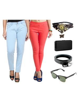 Ansh Fashion Wear Wjg-Cm-47-Rpbs Multicolored Women Jeans With Jegging, Watch,Belt, Cardholder,Sungl