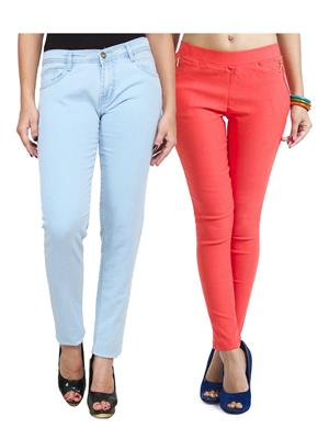 Ansh Fashion Wear WJG-2CM-47 Multicolored Women Jeans With Jegging