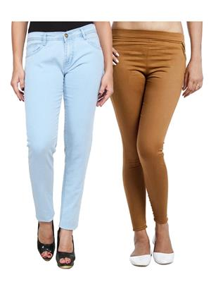 Ansh Fashion Wear WJG-2CM-50 Multicolored Women Jeans With Jegging