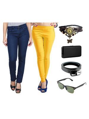 Ansh Fashion Wear Wjg-Cm-52-Rpbs Multicolored Women Jeans With Jegging, Watch,Belt, Cardholder,Sungl