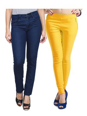 Ansh Fashion Wear WJG-2CM-52 Multicolored Women Jeans With Jegging