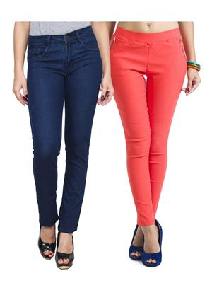 Ansh Fashion Wear WJG-2CM-55 Multicolored Women Jeans With Jegging