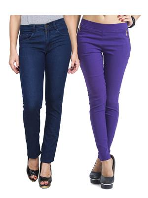 Ansh Fashion Wear WJG-2CM-56 Multicolored Women Jeans With Jegging