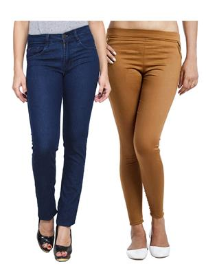 Ansh Fashion Wear WJG-2CM-57 Multicolored Women Jeans With Jegging