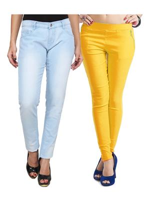 Ansh Fashion Wear WJG-2CM-9 Multicolored Women Jeans With Jegging