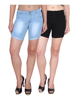 Ansh Fashion Wear WS-2CM-10 Black-Blue Women Shorts Pack Of 2