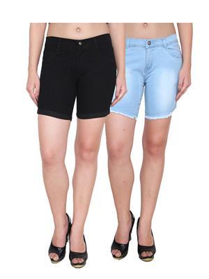 Ansh Fashion Wear WS-2CM-12 Black-Blue Women Shorts Pack Of 2