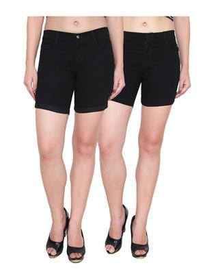 Ansh Fashion Wear WS-2CM-14 Black Women Shorts Pack Of 2