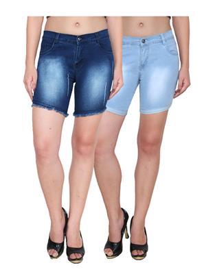Ansh Fashion Wear WS-2CM-20 Blue Women Shorts Pack Of 2