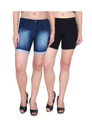 Ansh Fashion Wear WS-2CM-28 Black-Blue Women Shorts Pack Of 2