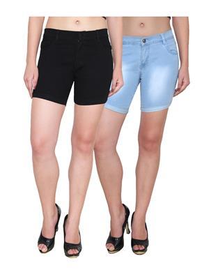 Ansh Fashion Wear WS-2CM-4 Black-Blue Women Shorts Pack Of 2